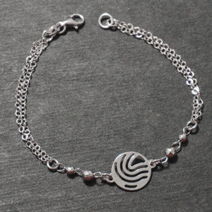 Silver Waves Double Chain Beaded Charm Bracelet